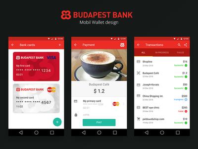 Budapest Bank mobile wallet design