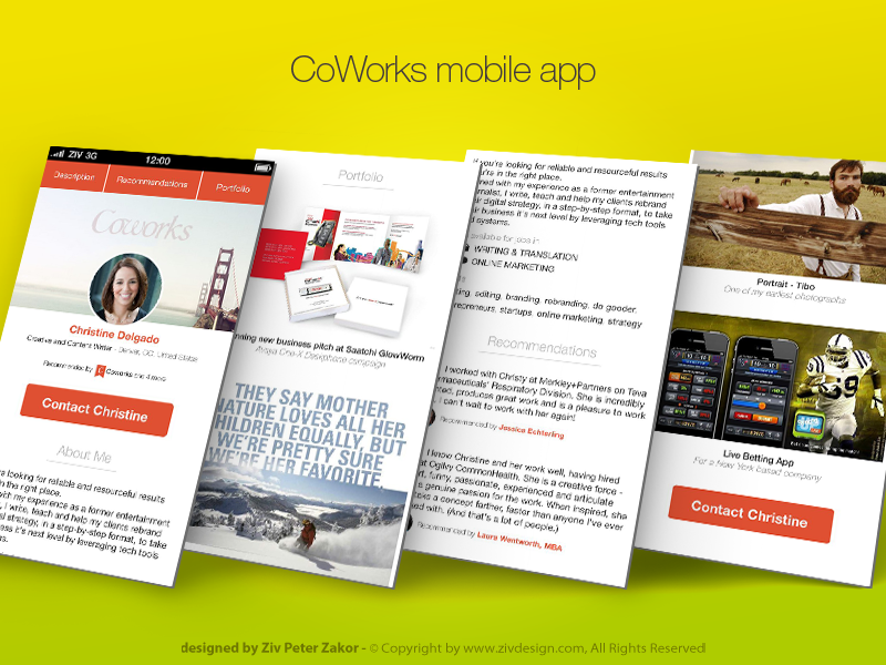 CoWorks freelancer profile app by Ziv Peter Zakor on Dribbble