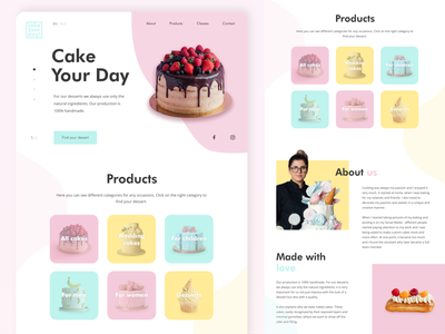 Cake Your Day website mint yellow pink cake candy sweet tasty landing pastel cupcake sweets shop pastry