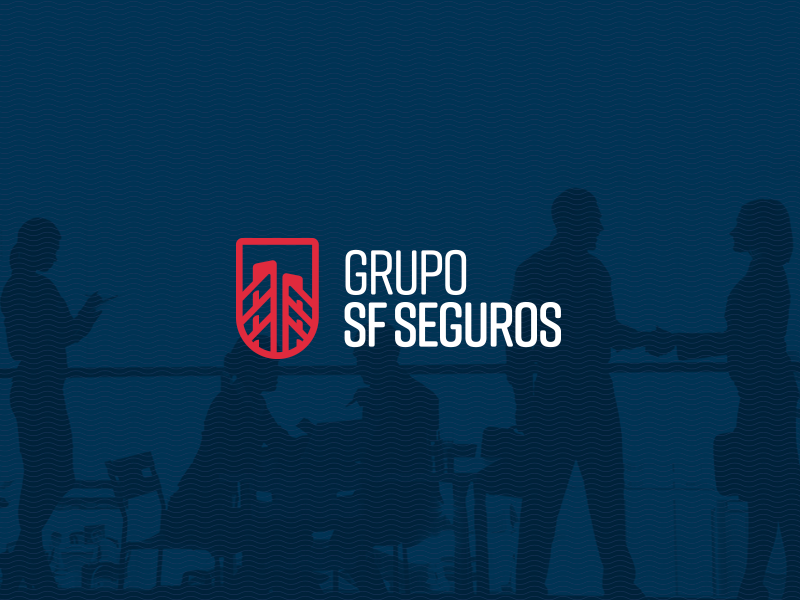 SF Seguros vector flat design insurance logo design branding brand shield bridge logo