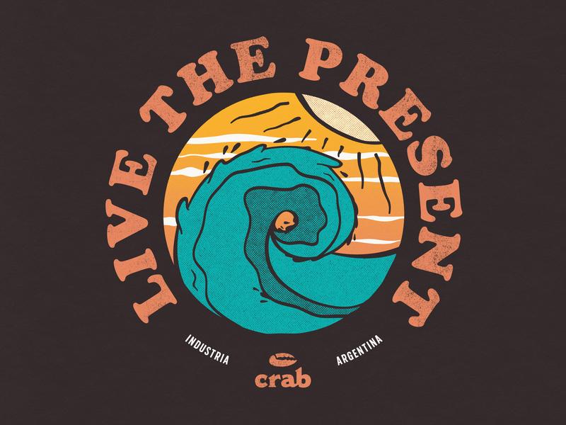 Wave beach sun crab ocean wave design illustration