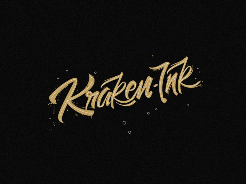 Kraken Ink  ___ Logo branding illustration minimal logodesign black kraken ink caligraphy typogaphy typeface script lettering lettering script logotype logo