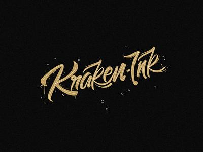 KRAKEN INK — Logo branding illustration minimal logodesign black kraken ink caligraphy typogaphy typeface script lettering lettering script logotype logo