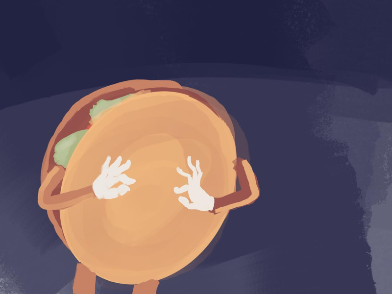 Hamburgers and Independence fireworks cookout hamburger procreate fantasy illustration isaac craft