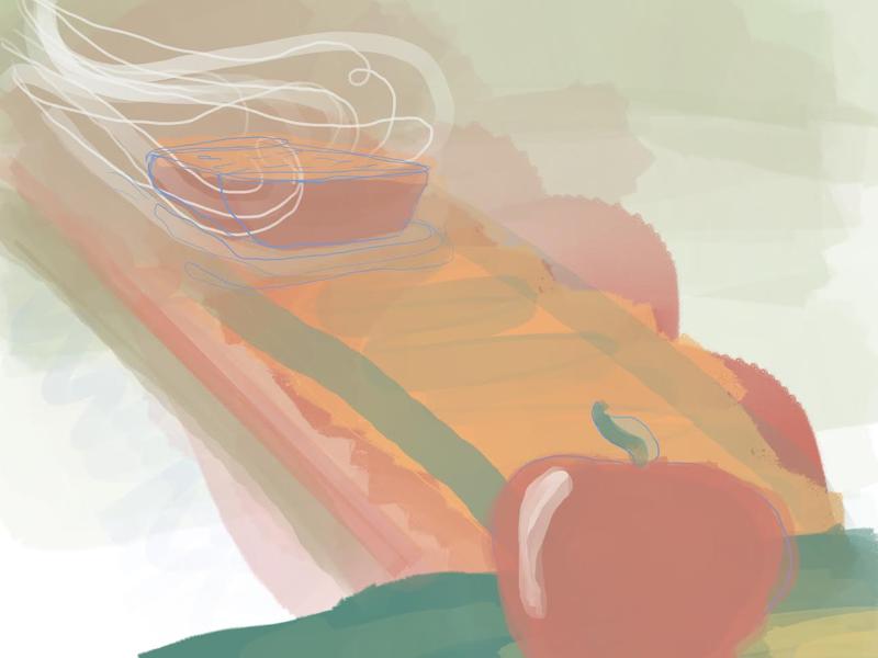 Facing The Cobbler cobbler fruit apples illustration fantasy procreate isaac craft