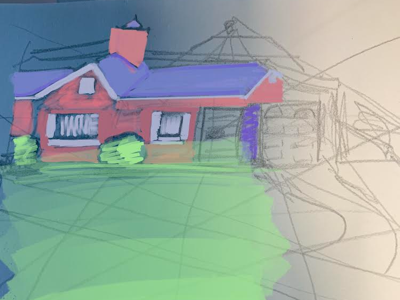 My neighbors house perspective drawing house procreate isaac craft