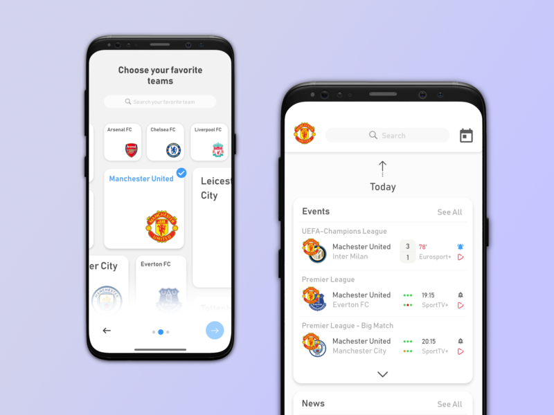 My Clubs App sport work clean football ui design ui style page mobile iphone inspiration illustration design app design dashboard concept color app concept app