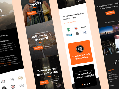 Mobile Website Homepage white black orange gradient button ux uiux mobile ui mobile design portfolio wordpress responsive mobile website