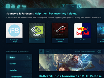 Azzur - Web design for eSports web webdesign front page design ui ux visual esports gaming