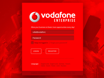 Vodafone Enterprise - Redesign Concept Login vodafone art direction architecture web design ui ux