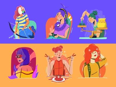 Zodiac Illustration Part 2 ux design branding vector ui illustration flat illustration character illustration character design