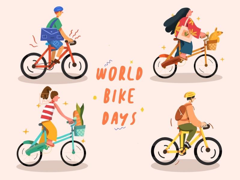 World Bike Days Illustrations bike ui design illustration flatdesign character icon ui branding design flat illustration character illustration character design