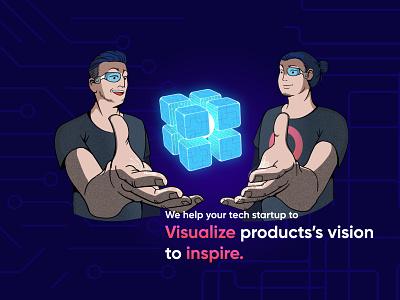 Visualize product's vision to inspire. technology design tech logo tech startup startup brand idenity identity design interface design user experience israel technology product design value proposition vision design branding illustration