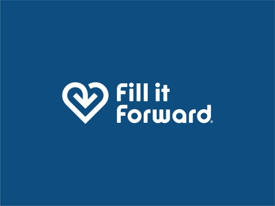 Fill it Forward generosity reuse arrow heart branding and identity branding logo design lettering