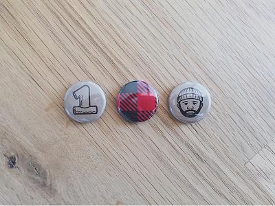 Nixon's Birthday Buttons plaid buttons oneinchwonders beard sketch process nixon lumberjack illustration