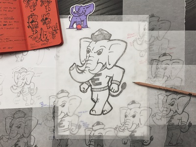 Elephant3 - Final Sketch e3ers fieldnotes process mascot kickball aiga elephantthree elementthree elephant illustration