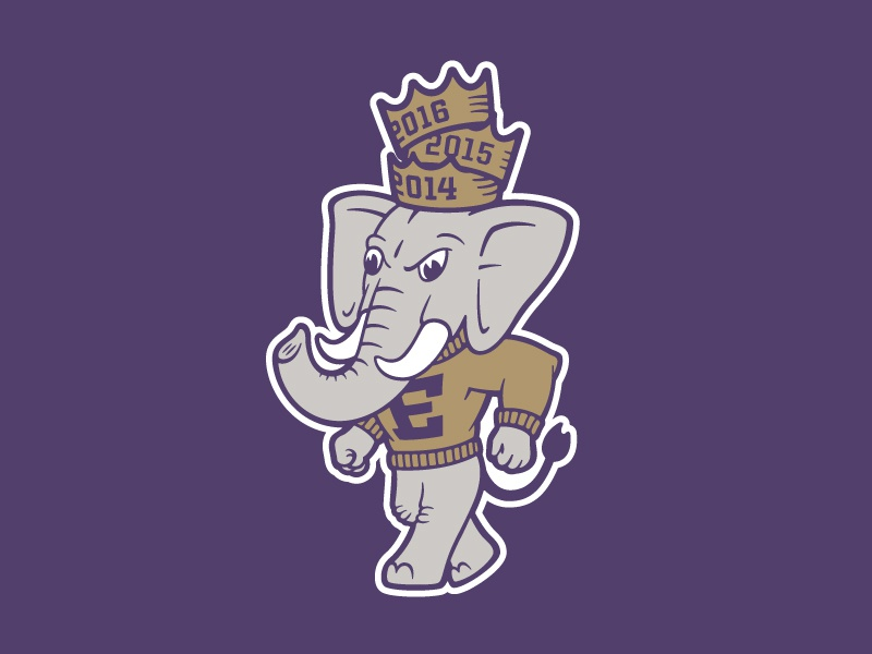 Elephant 3-peat crowns elephantthree elephant mascot kickball illustration e3ers elementthree e3