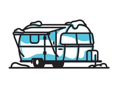 Winter Camping Illustration illustration camping snow winter elementthree airstream
