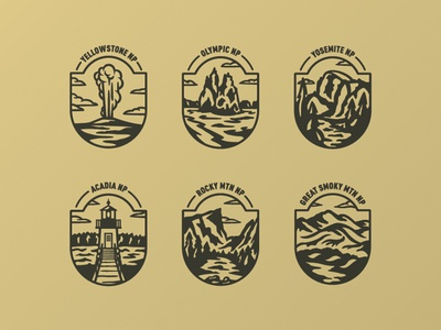 Thor Industries National Park Badges great smoky mountain rocky mountain acadia yosemite olympic yellowstone element three illustration badge national parks