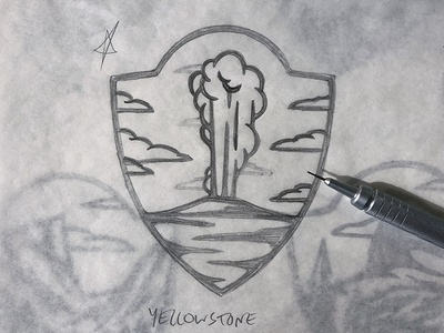 Thor Industries National Park Sketch process sketch illustration yellowstone national park badge