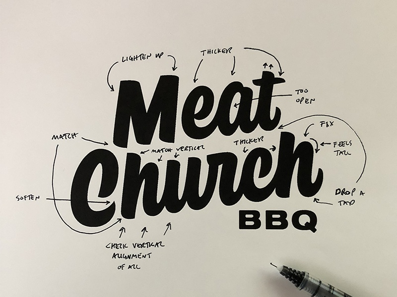 Meat Church Markup process branding texas bbq traeger grills meat church logo