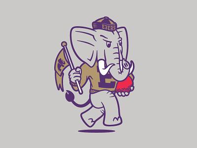2018 Elephant 3 aiga kickball elephant illustration mascot element three