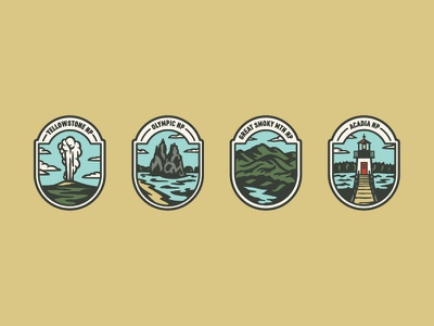 National Parks Badges Color acadia great smoky mountains olympic yellowstone national parks badge logo badge design badge
