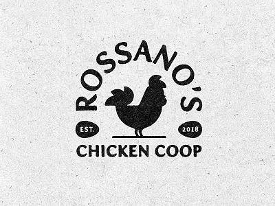 "Rossano""s Chicken Coop Badge eggs chicken design vector logo illustration"