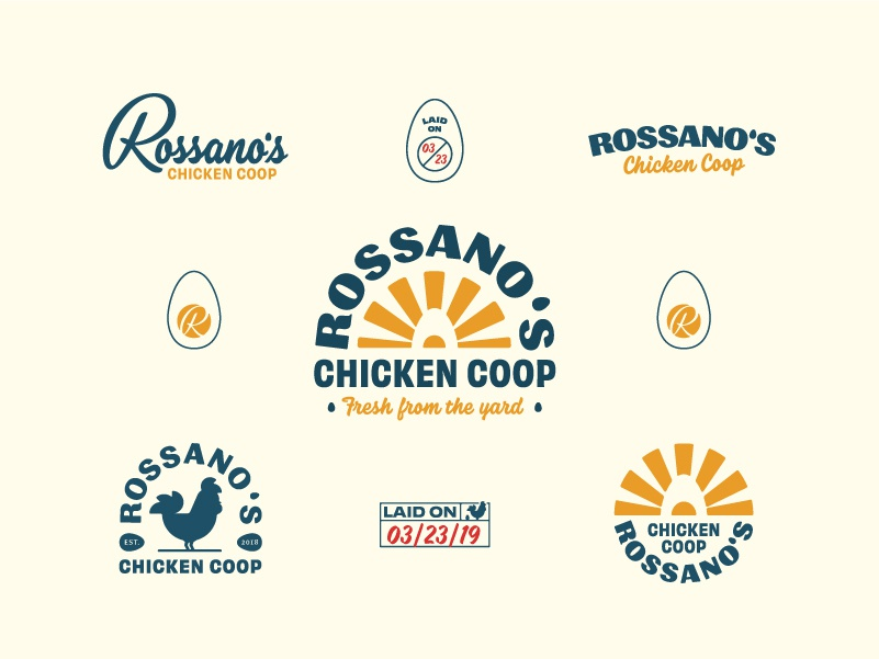 "Rossano""s Chicken Coop Brand Suite badge design badge logo badge egg chicken branding logo vector handtype vectormachine handlettering hashtaglettering lettering"