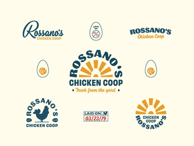 Rossano's Chicken Coop Brand Suite badge design badge logo badge egg chicken branding logo vector handtype vectormachine handlettering hashtaglettering lettering