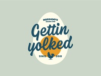 Gettin Yolked chicken egg badge design badge vector vectormachine handlettering hashtaglettering lettering