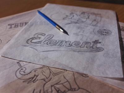 Elephant 3 - Process kickball elephant e3 illustration elementthree handtype process handlettering hashtaglettering lettering