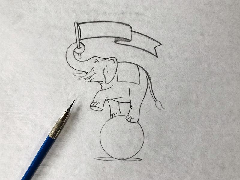 2019 Elephant Three Sketch process mascot design illustration elephant 3 element three mascot