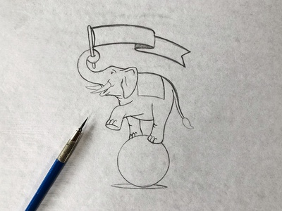 2019 Elephant Three Sketch process mascot design illustration elephant 3 element three mascot