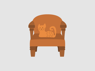 Cat on a chair.