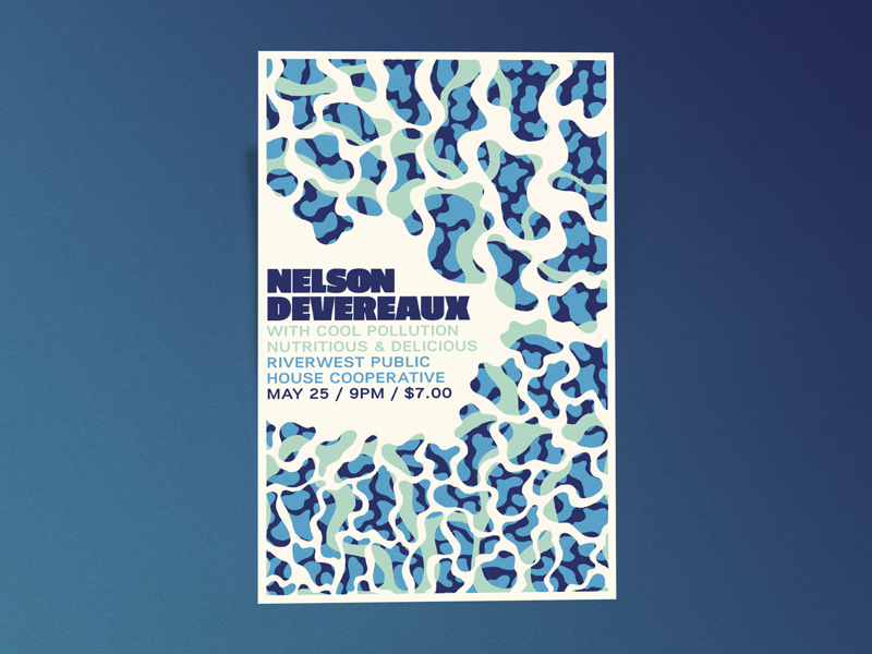 Nelson Devereaux Gig Poster pattern blobs gig poster