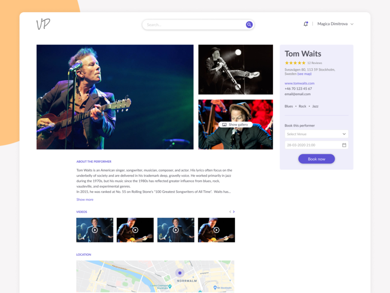 Booking system business platform web app performer gallery music booking