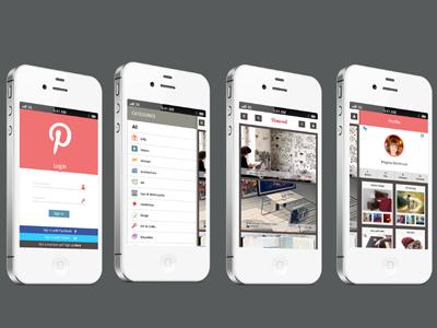 Proposal Design For Pinterest pinterest categories flat mobile app login setings profile