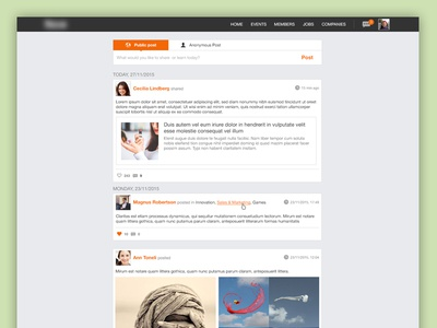 Home feed feed profile website ui ux post anonymous public upload social
