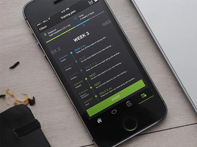 iOS Running App Timeline bold ui goals timeline activity ios running coach plan training