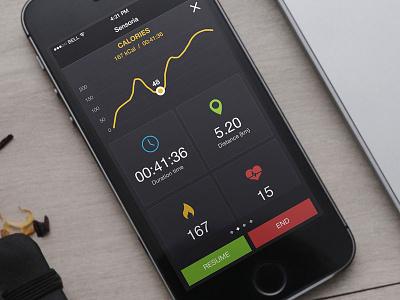 Running iOS app active running ios graph distance data calories run fitness