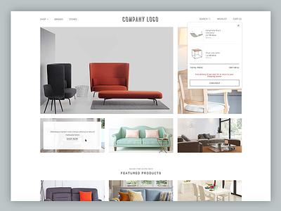 Furniture & Interior E-commerce Website furniture landing template boutique store fashion bag cart e-commerce