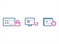 Icons for Point of Sales document cart outline icons shopping pos