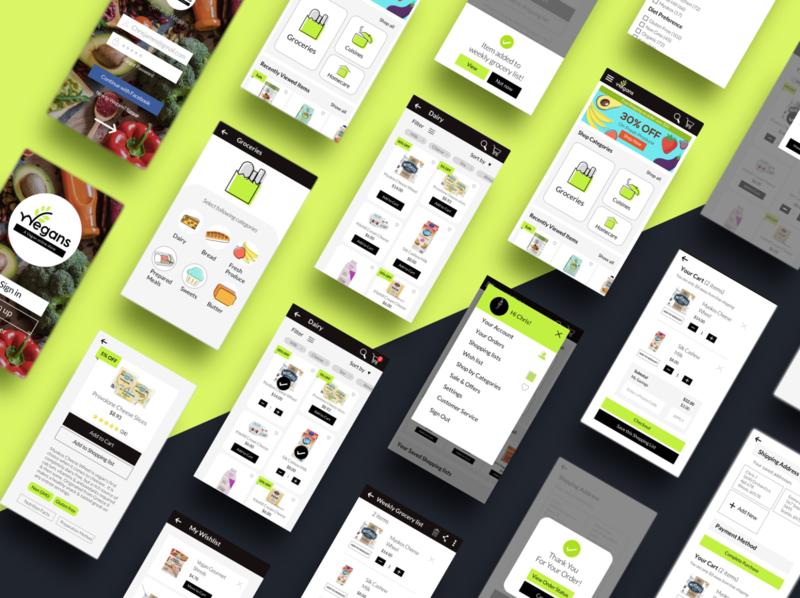 Online Shopping app for vegan products design ecommerce app ui design ui