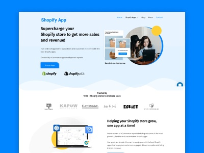 A website UI for a Shopify Saas app product. illustrator typography logo typography logo icon illustration ux web ui branding