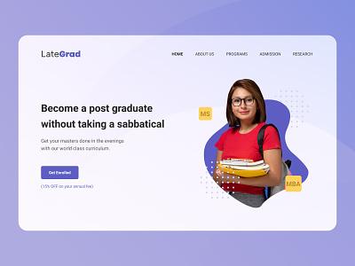 College Website Hero Section graphic design branding typography logo web ux ui design