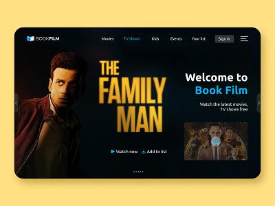 Film Booking Website Hero Section Concept typography vector ux ui web branding design