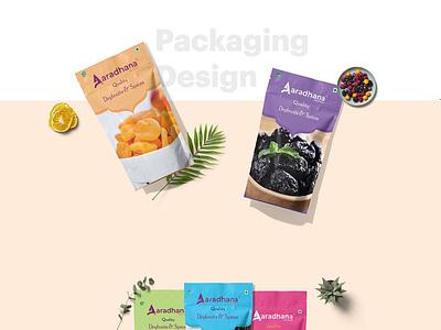 Aaradhana Dry Fruits Package Design the web people typography mockup food packaging design packaging branding design