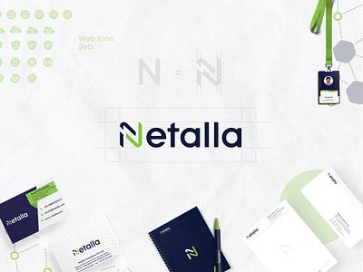 Netalla Branding icon icon set logo design conceptlogo idcard letterhead visitingcard web typography logo logo typogaphy design ui brand