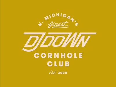 DJ Down Cornhole Club michigan badge logo design vector procreate logo branding handlettering lettering typography design